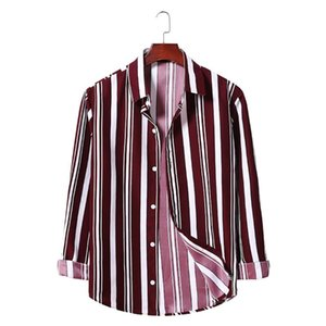 Mens Shirts Casual Loose Long Sleeve Down Collar Summer Tops Black Pink Striped Shirt Male Clothes