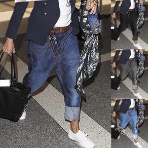 Мужчины Джинсы PantsTaper Нерегулярной Кнопка Середина талия Zipper Полная длина Повседневные Сплошные Плюс Размер Перекрестных брюк Lugentolo