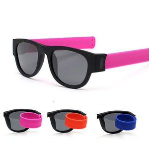 Colorful Bracelet Fashion Folding Sunglasses Glasses Sun Wristband Men For Shades Outdoor Slappable Polarized Women Obqco
