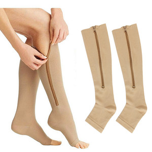 color sólido de la cremallera de compresión calcetines de la manera mujeres de los hombres corrientes de los deportes atléticos de ciclismo medias calentadores de la pierna Calcetines voluntad y regalo de arena