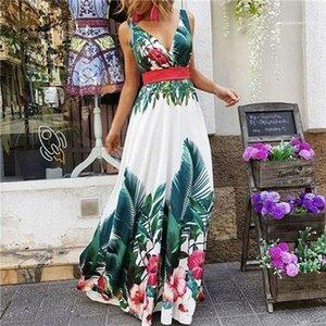 Robes longues vacances Mode taille haute Femmes Lond Robes One feuilles couleur imprimé floral d'été Femmes Robes col en V manches à chaud