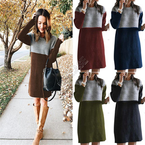 2020 Winter Clothes Women's Sweater New Style Spliced Skirt Loose Large Round Neck Long Sleeve Women Dress 5 color Boutique S-3XL D82603