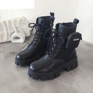 Yüksek Kaliteli Monolith Platformu Ayakkabı Kadınlar Siyah Bilek Boots Cep Tasarım Fermuar Sıcak Çizme Lace Up Kalın Alt Kısa Çizme