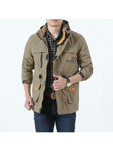 Men's Jackets 2021 Bomber Jacket Men Autumn Winter Muti-Pocket Waterproof Tactical Cap Windbreaker Mens Coat Outerdoor Hooded
