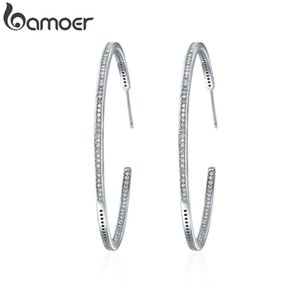 BAMOER New Collection Silver Color Luminous Clear CZ Circle Hoop Earrings for Women Fashion Earrings Jewelry Gift YIE115 200924