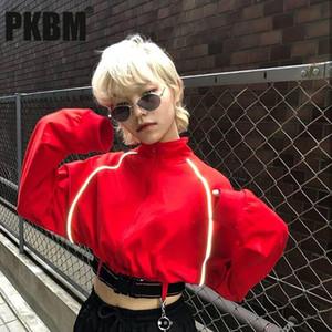 PKBM- Zipper Turtleneck cultura superior refletor listrado Sashes Botão completo manga Moda feminina curta Moletons 2020 Outono Rua