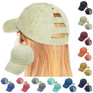 11Colors Ponytail Messy Buns Hats Washed Torn Baseball Caps Cotton Unisex Visor Cap Hat Outdoor Snapbacks Breathable Casual Hat KHA596