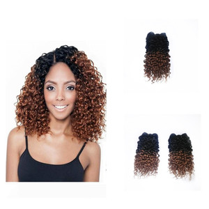 Ombre цвет Jerry завитых 1B / 30 Светло-коричневая Синтетический волос утки вязание плетенка для Full Head