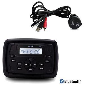 Wasserdichtes Marine Square-Radio Bluetooth Sound System FM AM-Empfänger Auto-MP3-Player + USB-Audio-Kabel für Yacht RV Motorrad