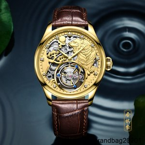 Twelve Constellations Tiger Mechanical Automatic Watch Men 100% Real Rhinestone Gold Watches Relogio Masculino