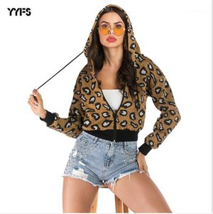 Пальто Повседневный Leopard Printed Дамы куртки Сыпучие Открыть стежка с Zipper Женский модельера с капюшоном Womens