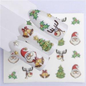 مسمار الفن مسمار ملصقا السنة الجديدة المتزلج الوشم عيد الميلاد المياه ملصق بابا نويل ثلج الأغطية كاملة تصاميم الشارات