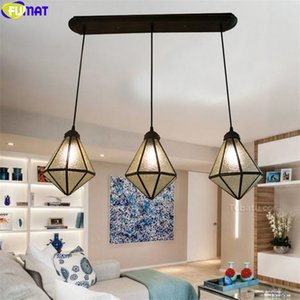 FUMAT Tiffany Style Star Diamond Pendant Dinning Room Lamps Stained Glass Hanging Light Fixture Multicolor House Art Decortive