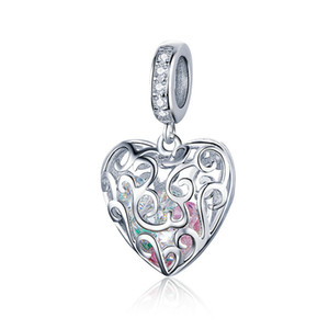 Colorful CZ Floating Heart Dangle Charm Pendant Fit Pandora Bracelet For Girls Gfits 100% Genuine 925 Sterling Siver Rhodium plated