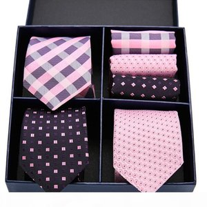 New Plaid men ties set Necktie Pink Paisley Silk Jacquard Woven Necktie Handkerchief Suit Gift Box Wedding Party