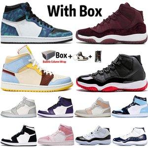 Jumpman alta OG 1 1s Zapatos Dio Chicago UNC teñido anudado de baloncesto del Mens 2020 nuevos de la llegada 11 11s Concord Bred Tamaño WMNS mujeres zapatillas de deporte los 13