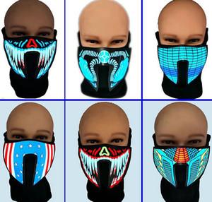 велосипедного маски Звук Активированный маска костюм Light Up Halloween Party Luminous Voice Control Маска для партии Cosplay KKA8046