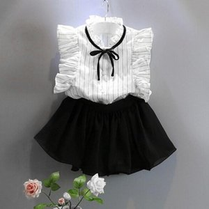 Stripe Shirt Chiffon Culottes Two Pieces Set Skirt Suit July preppy style simple sweet kids Girls Clothes July21
