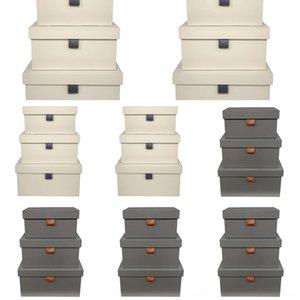 Nordic semplici abiti morbidi vestiti scatola di cuoio camera con tre pezzi contenitore di stoccaggio stanza del campione ornamenti kQmig