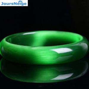Echt Bright Green Natürliche Katzenauge-Stein Kristallarmbänder Frauen Glück Geschenk Hilfe Ehe Kristall Armband Schmuck JoursNeige