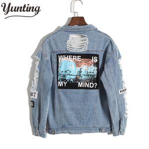 Vintage Fashion Wash Water Distrressed Denim Jacket Embroidery Letter Loose Back Applique BF Denim Coat Hole Outerwear Female CX200810