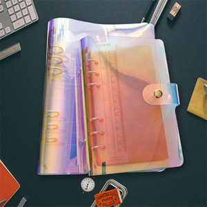 A6 Pvc loose-leaf binder Notebook Binder Laser Clips colorful Organizer Transparent Rainbow Note Books Round Ring Binders Notepads A07