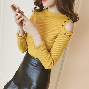 women girls Early autumn 2020 new slim Pullover long sleeve T-shirt tops female off shoulder thin sweater