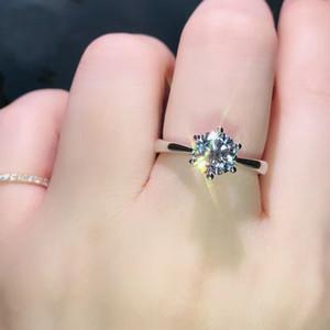 Классический стиль Шесть зубец бриллиантовое кольцо, моделирование сверкающих бриллиантовое кольцо с регулируемым Drill кольцом бесплатная доставка и высокое качество
