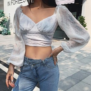 Crop Top Casual Puff Sleeve Womens Clothing Tshirts Women Sexy Vneck Tees Fashion Soild Color Slim
