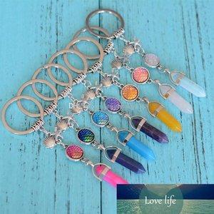 Fashion Natural Stone Hexagon Prism Drusy Druzy keychain Mermaid Key Rings Starfish Fish Scale Charms Keychain Jewelry For women