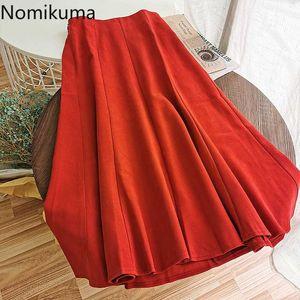 Nomikuma 2020 осень зима новых женщин юбка Корейский высокой талией Элегантные юбки Причинная Твердые плиссе-линии Faldas Mujer 6B743