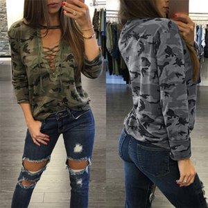 Frauen Art und Weise Tarnung Blusen-T-Shirts schnüren sich oben Tops Kurzschluss-Hülsen-Langarm-beiläufige Sport-T Hoodie Kleidung LY813