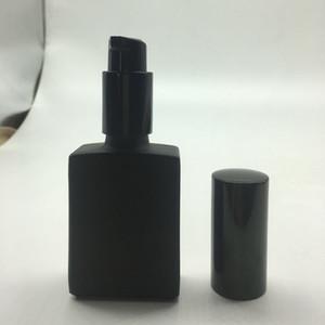 200PCS 30ML زجاجة مستطيل أسود مع غطاء مضخة محلول 1OZ زجاج القطارة الحاويات ماتي القابلة لإعادة التعبئة زجاجة مستطيل أسود