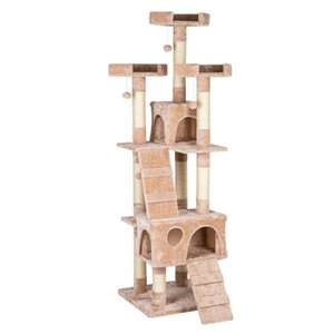 "66"" Sisal Hemp Arbre à chat Tour Pet Maison Jouer Kitten avec Climb confortable Perches Beige Cat Holder Pet Toy"
