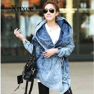 Осень Сыпучий с капюшоном Джемпер Джинсы Пальто зима Верхней одежды Женщина Джинсового Trench Женщины мода Шинель готический старинное синее пальто