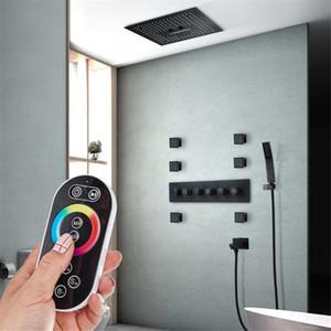 400mm LED 샤워 세트 Rainfall 샤워 헤드 304 SUS LED 천장 조명 블랙 샤워 수도꼭지 욕실 자동 온도 조절 마사지 샤워 시스템