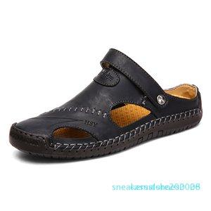 Vera Pelle Classic Mens Sandali estate Maschio Beach sandali comodi molli Maor Beach Pantofole slip-on Man C28