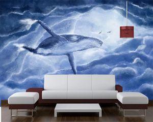 Gewohnheit 3D irgendeine Größe Tapete Fliegen Whale Handbemalte Schöne Hintergrund-Wand-Innendekoration 3d Tier Wallpaper