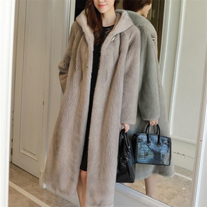 Hot Sale Hot Sale Mid-Length Coat Female 2020 Winter Fashion New Imitation Mink Whole Mink Hooded Warm Fur Coat Tide