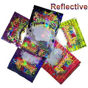Reflektierende 500MG Dank Gummies Mylar Leere Tasche Edibles Verpackung Lagerung für trockene Kräuter Blume Reißverschluss Reißverschluss-Verschluss Einzelhandel Wasserdicht Tabak-Süßigkeit