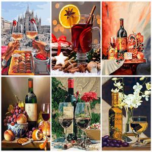 AZQSD DIY Unframe Yağ Numaraları Kırmızı Şarap Handpainted Hediyesi By Ev Dekorasyon Boyama Boya Numara Şarap Cam Akrilik tarafından Boyama