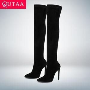 QUTAA 2020 d'hiver Cuissardes Bottes à talons hauts tissus extensibles Enfilez Chaussures Femme bout pointu à long Bottes Taille 34-43 CX200821