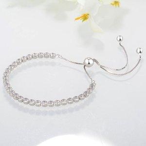 2020 Sterling Silver Bracelets Clear CZ Diamond Adjustable Size Shining Crystal Bracelet Fit Pandora Jewelry Womens Valentine's Day gift