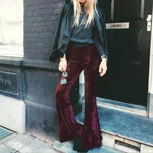 BKLD Moda Velvet Pants Mulheres Outono Inverno Alargamento Calças de cintura alta Calças Street Style Bottoms Mulheres Alargamento Pants CX200810