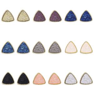 Mode druzy drusy Ohrringe Gold Triangle Geometry plattierten Faux Naturstein Harz Ohrringe für Frauen Schmuck
