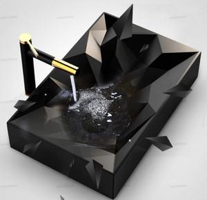 Art Умывальники 560 * 355 * 120 мм матовый черный керамический сосуд Раковина Совмещенный ручной умывальником Чаша Современный дизайн