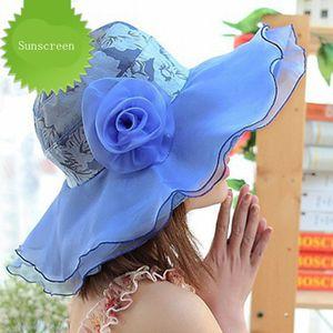 Female Summer Wide Brim Lace Belt Sun Beach Hat Fashion Flower Women Foldable Beach hat Anti-UV Cloth Sunscreen Travel Cap V3