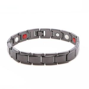 Energia Aço inoxidável 1PCS Moda Preto Magnetic Bracelet For Men Saúde Bracelet Bio Magnetic pulseiras Jóias