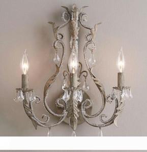 Vintage antiguos retro lámpara de pared de cristal gris apliques blanco francés Interior de la casa decoración dormitorio cama lámpara de pared de luz LLFA
