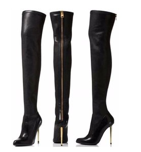 Sexy Zipper Heels Over The Knee Boots Gold Metal Heels Black Leather Tight High Boots Round Toe Women Dress Shoes Winter